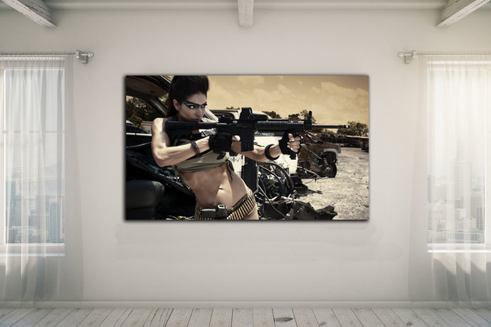 Girl with Gun - Gallery Wrap Canvas w/ COA (Various Sizes)