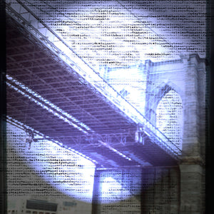 blue and text photograph of Brooklyn Bridge,New York City. Art under $500.00