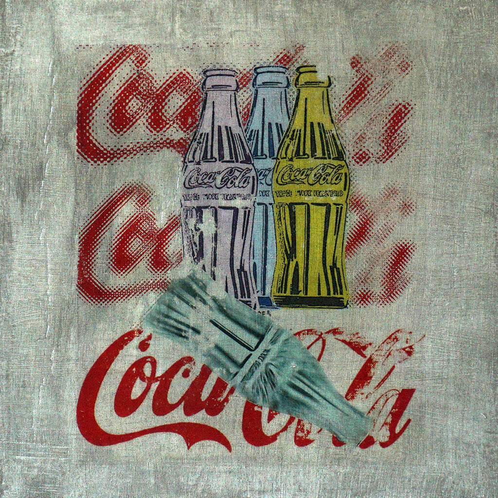 4 Coke bottles; purple,blue,yellow and green on a painted grey silver background on wood panel. Unique art. 12x12x1.5""