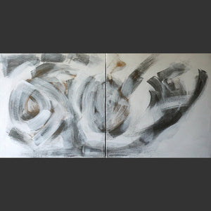 "abstract painting. white dark and light grey with a tad of gold. Flou movement.zen painting 20x40x1.5"" on canvas."