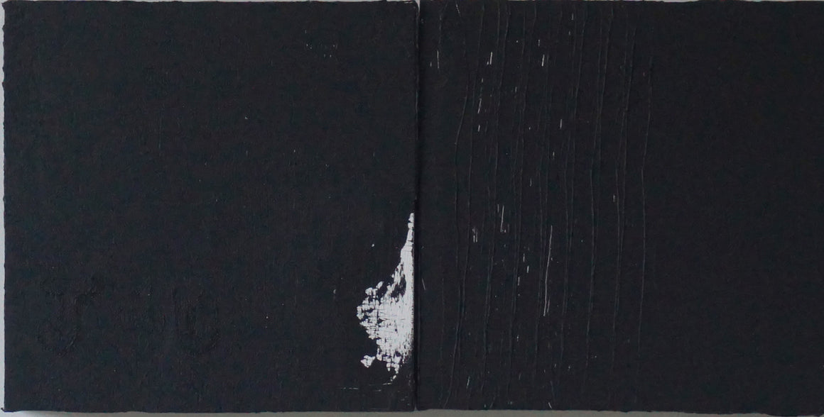 Just 4 You black minimalist Painting  with a tad of white. By artist Fran  Lamothe