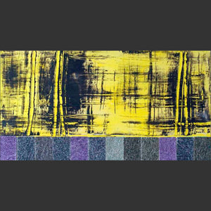 "Modernica yellow abstract painting 12x24x1.5"" on wood panel. Yellow and and black with fiberglass tiles; purple, navy, grey tiles. Abstract painting on wood panel. Created by visual artist Fran Lamothe."