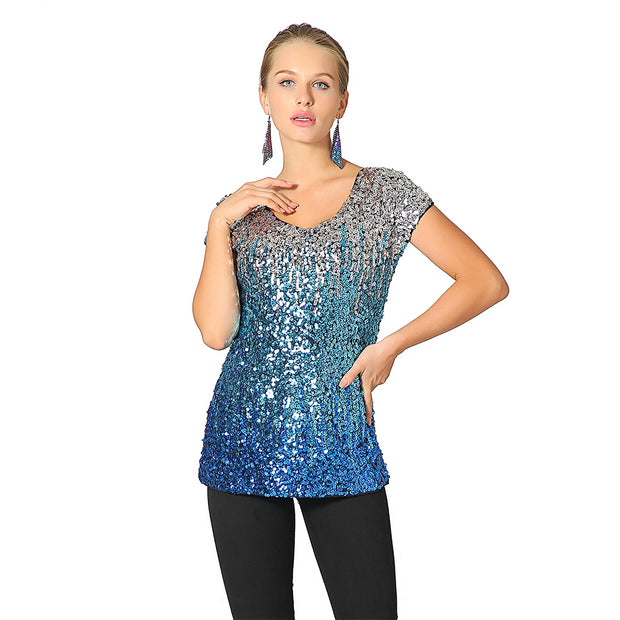 Metme Women Vintage V Neck Tank Tops Loose Flashy Sequin Sparkly Vest Tops