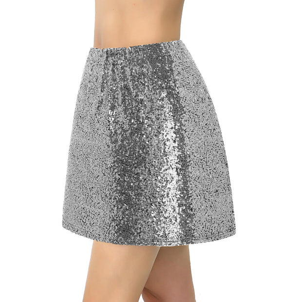 Metme Women's Sparkle Sequin Skirt Mini Dress Night Outfit Glitter Body-con Club Wear Cocktail Party