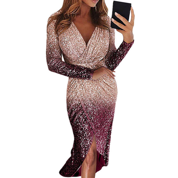 Metme Women Sexy Sequin Party Dress Gold Silver Glitter Club Dress Long Maxi Shine Evening Gown Female Wrapped Ruched Dresses