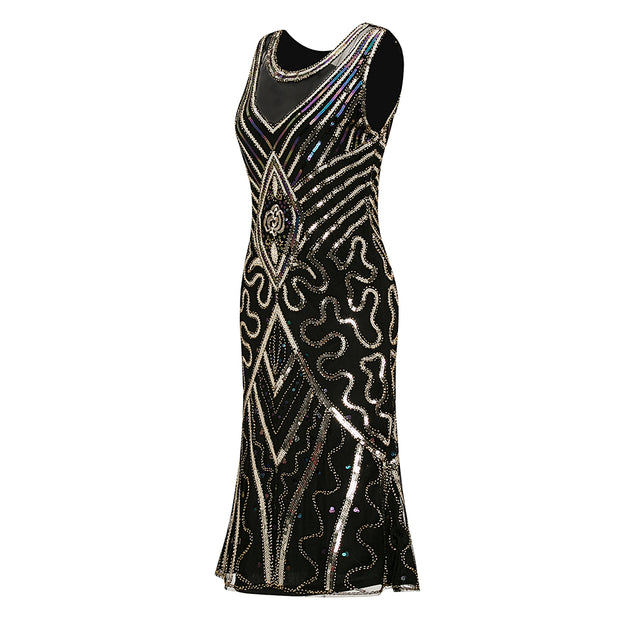 Metme Women's Vintage 1920s Inspired Fringed Art Deco Gatsby Evening Party Dress