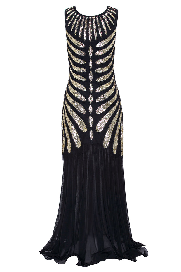 Metme Women's 1920s Long Prom Dresses Beaded Sequin Evening Gown Gatsby Flapper Dress