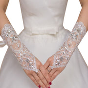 Metme Floral Lace Gloves Bridal Satin Banquet Party 1920s Flapper Finger Prom Gloves Adult Size