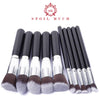 10 Pcs Silver and Gold Makeup Brushes Set