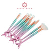 10pcs Mermaid Shaped Makeup Brushes Set