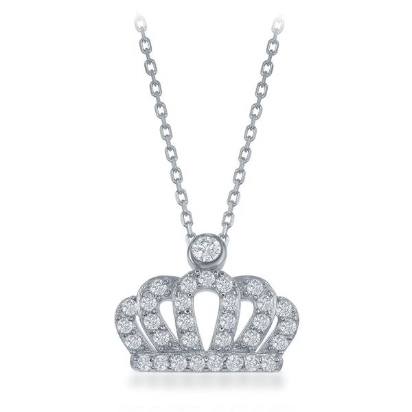 Sterling Silver Rhodium Plated Small CZ Crown Pendant