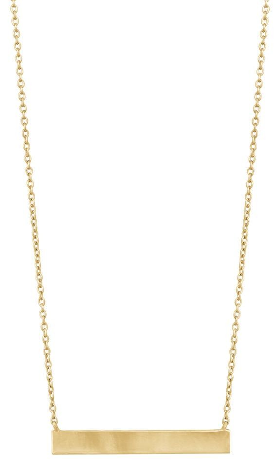 Sterling Silver With Gold Plating Sideway Side Bar Necklace