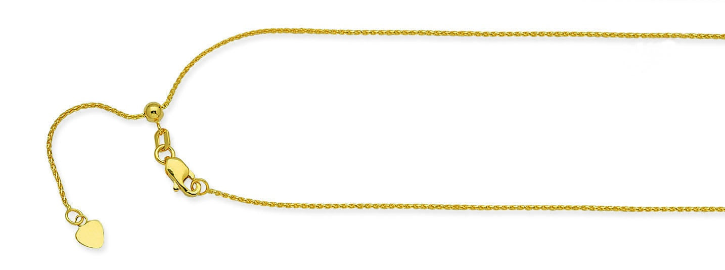 "10kt 1.02mm 22"" Adjustable Wheat Chain"