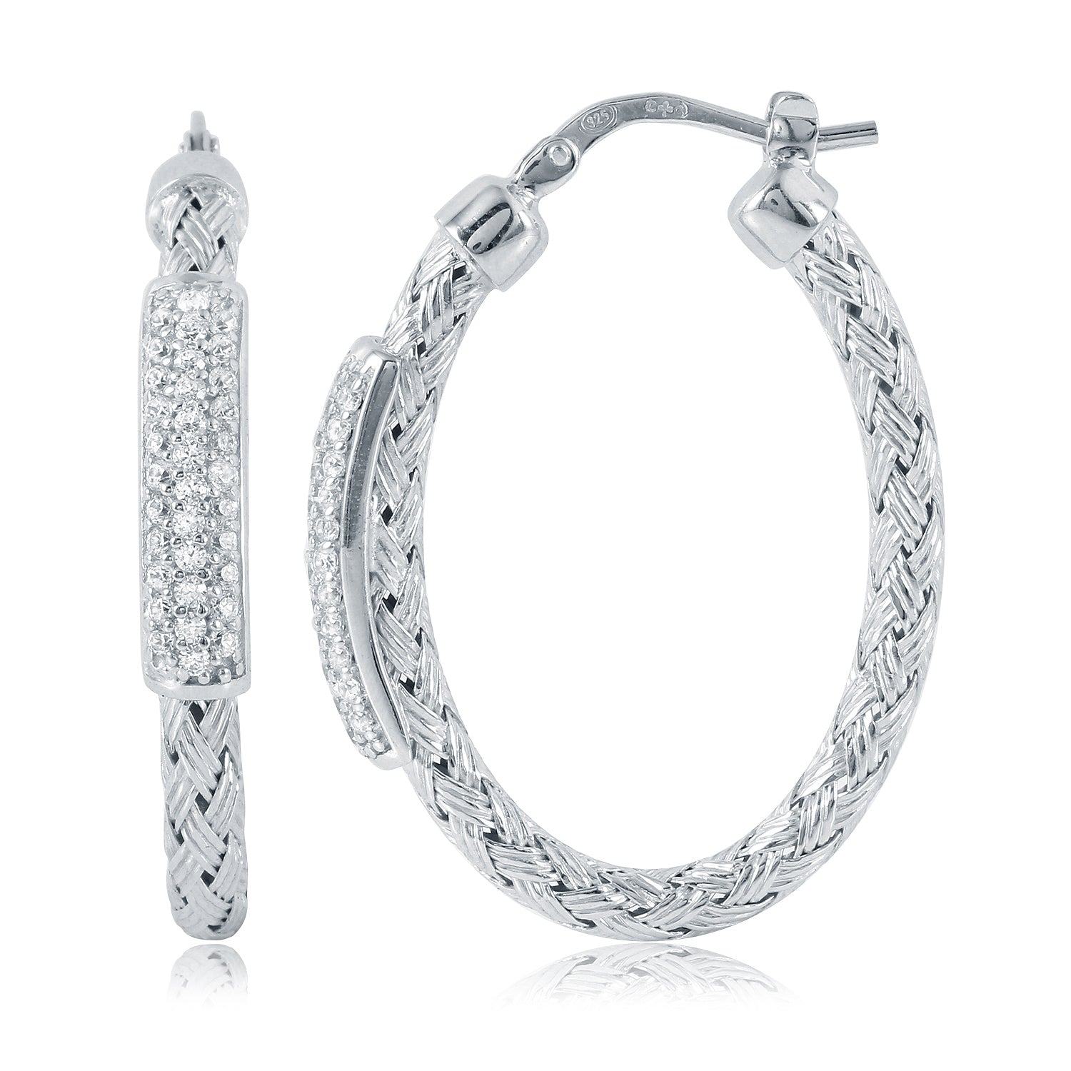 SS CZ Diamondlite Rope Texture Hoops