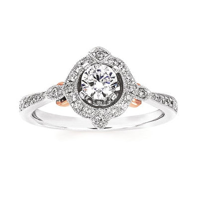 14kt 3/8ctw Vintage Halo Engagement Ring