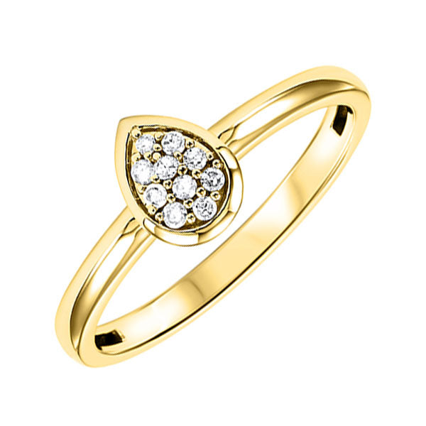 10K Yellow Gold Diamond Fashion Ring - 1/10 ct.