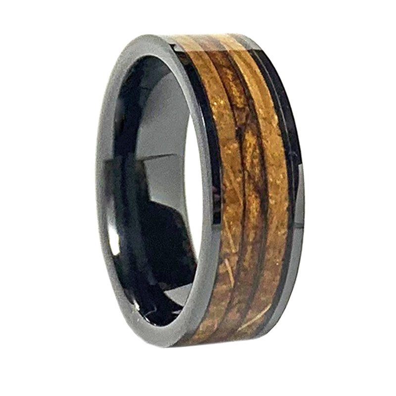 8mm Black Ceramic Whiskey Barrel & Cigar Leaf Band