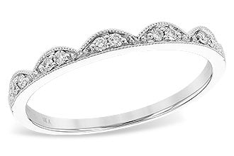 14k White Gold Scalloped Diamond Band
