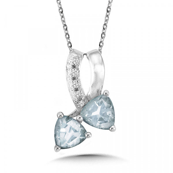 Sterling Silver Aquamarine & Diamond Pendant