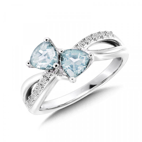 Sterling Silver Aquamarine & Diamond Ring