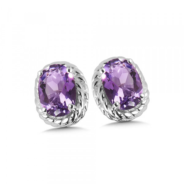 Sterling Silver Amethyst Colored Earrings