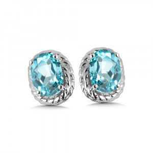 SS Rhodium Plated Aquamarine Earrings