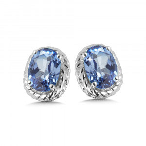 SS Rhodium Plated Lab Created Blue Sapphire Earrings