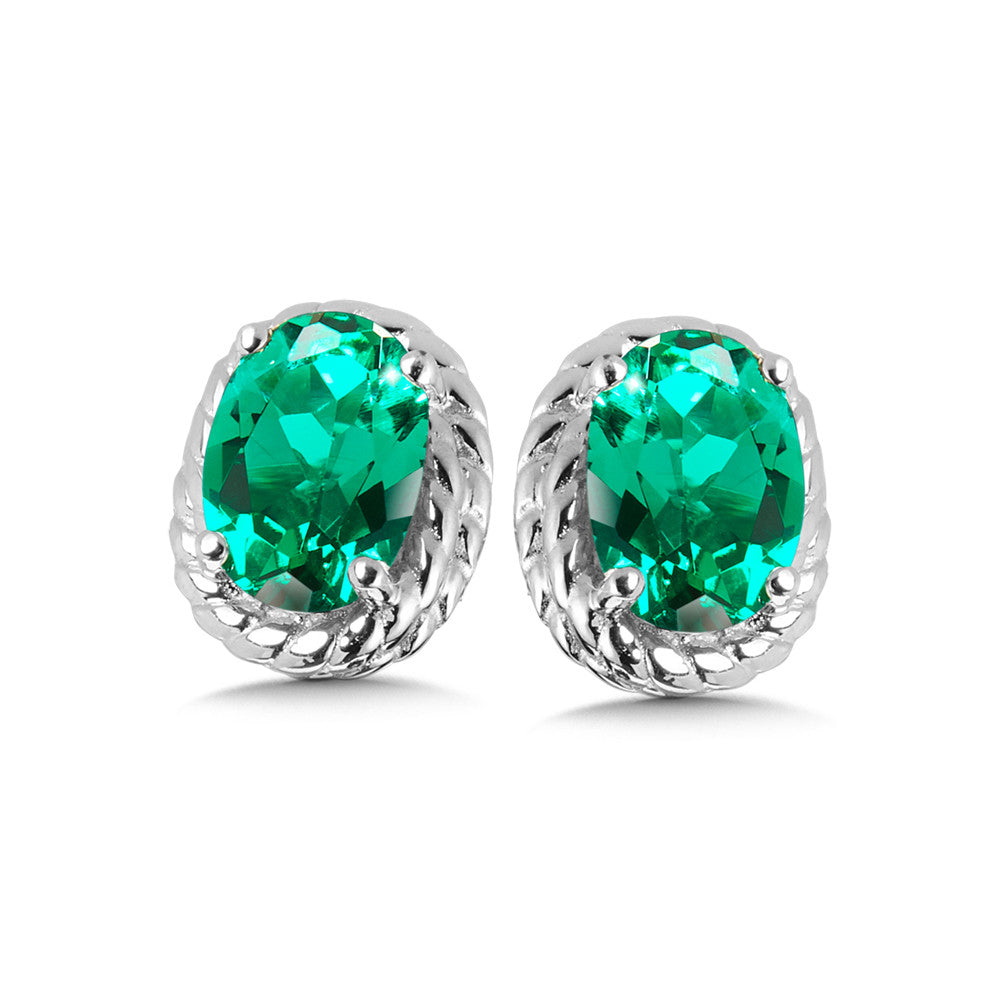 Sterling Silver Lab Created Emerald Colored Earrings