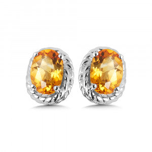 SS Rhodium Plated Citrine Earrings