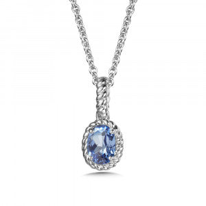 SS Rhodium Plated lab Created Blue Sapphire Pendant
