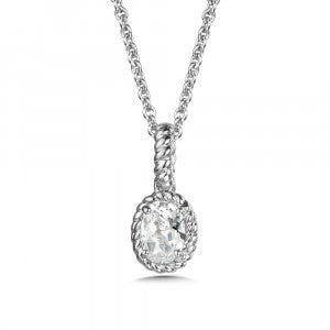 SS Rhodium Plated Lab Created White Sapphire Pendant