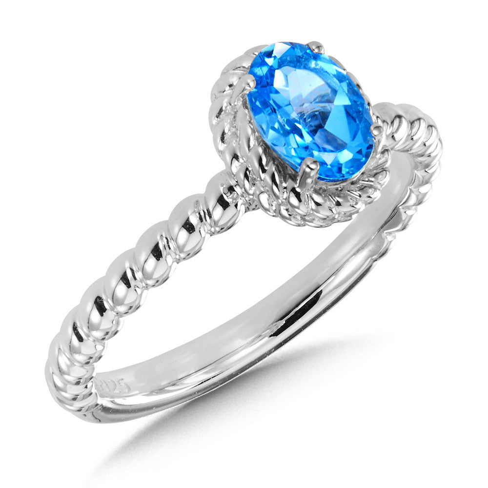 SS Blue Topaz Stackable Ring