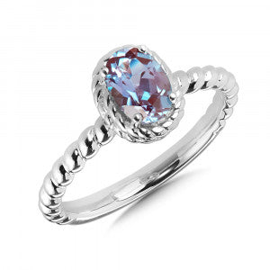 SS Lab Created Alexandrite Stackable Ring