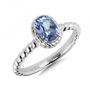 SS Lab Created Blue Sapphire Ring
