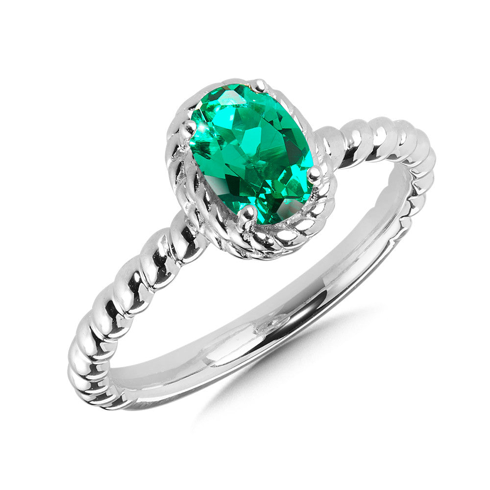 Sterling Silver Lab Created Emerald Colored Ring