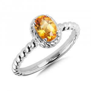 SS Citrine Stackable Ring