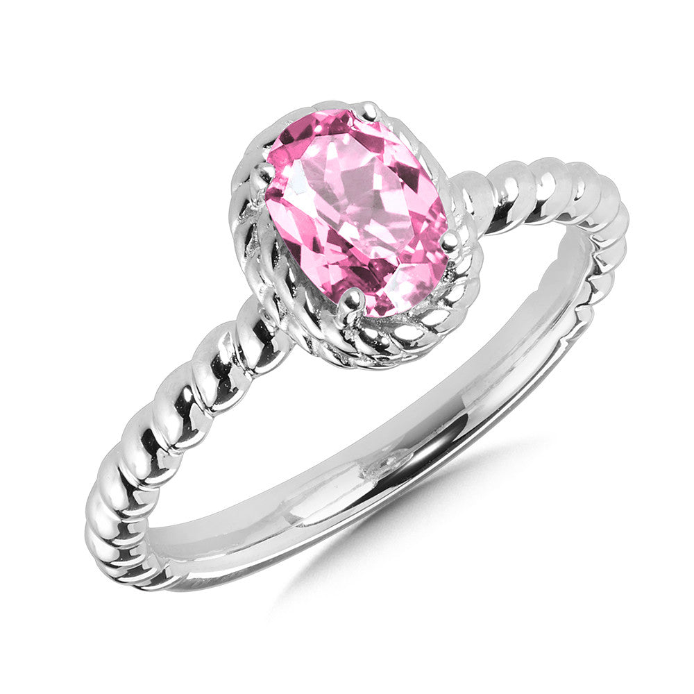 SS Lab Created Pink Sapphire Ring