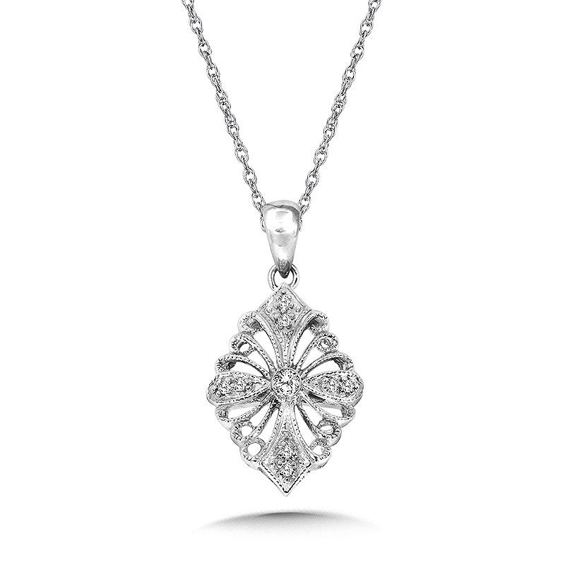 Sterling Silver Diamond Filigree Pendant