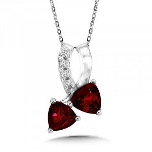 SS Rhodium Plated Garnet & Diamond Pendant