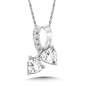 SS Rhodium Plated White Topaz & Diamond Pendant