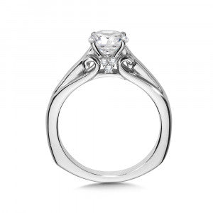 14 Kw Rhodium Plated .06 Ctw VS/SI, F/G Solitaire Setting Shown W/ CZ Setting