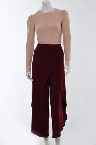 Dark red wrap pants