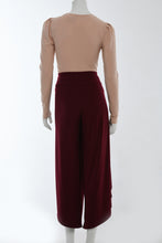 Load image into Gallery viewer, Dark red wrap pants