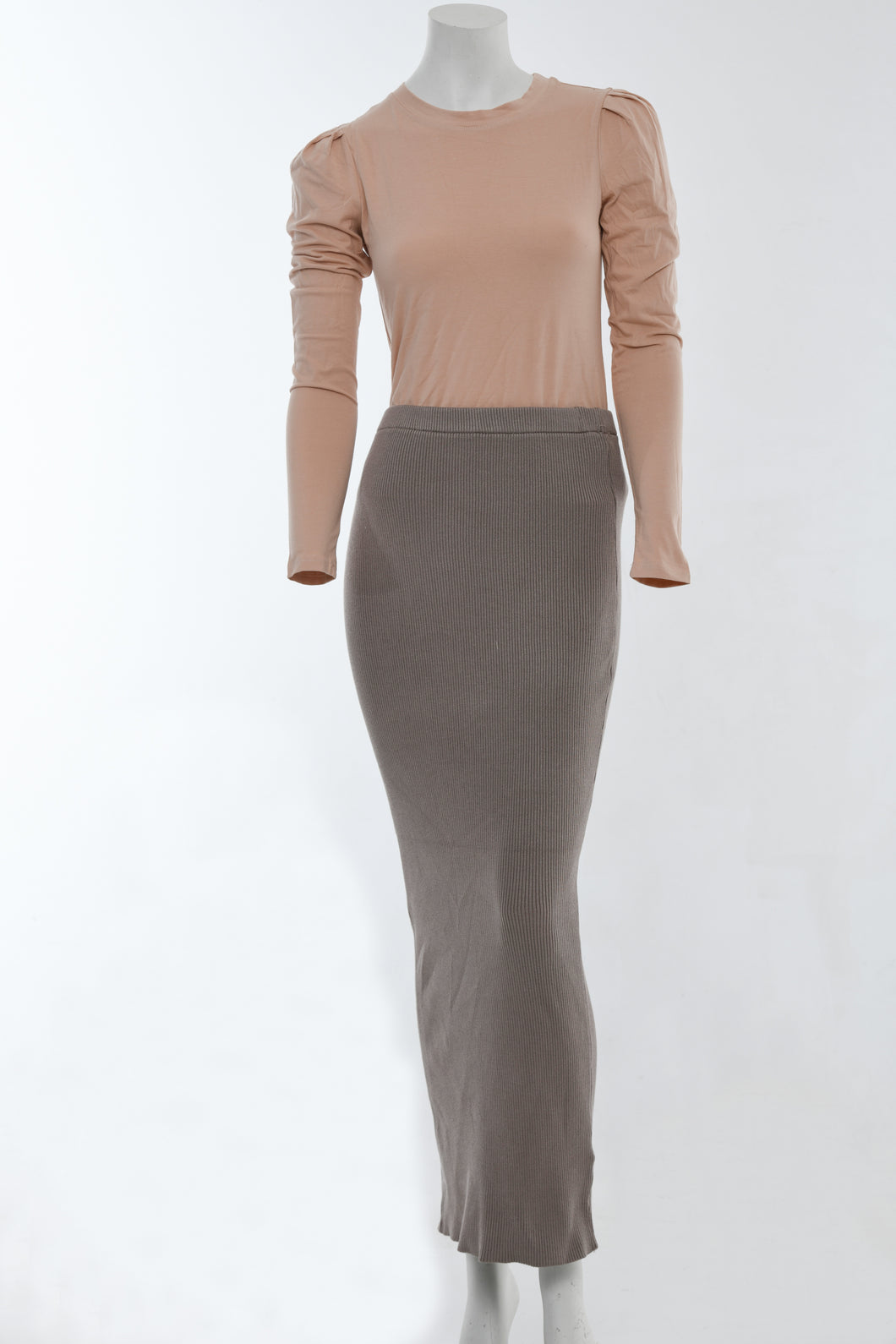 Maxi Knit Skirt - Taupe