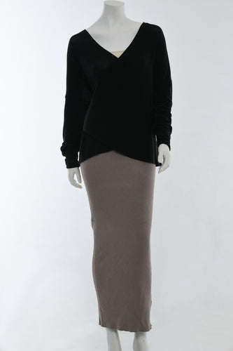 Black wrap shirt with long sleeves