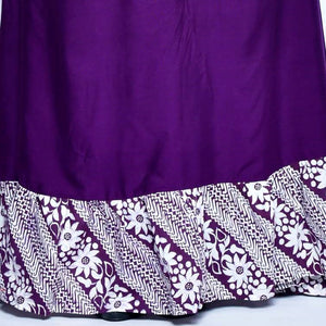 Purple Ruffled Hem Batik Dress