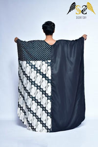 Batik Black White Kaftan Dress
