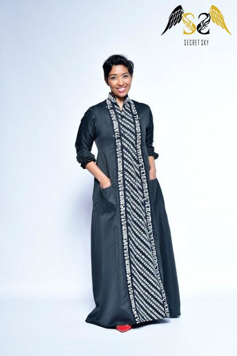 Black And White Batik Maxi Dress