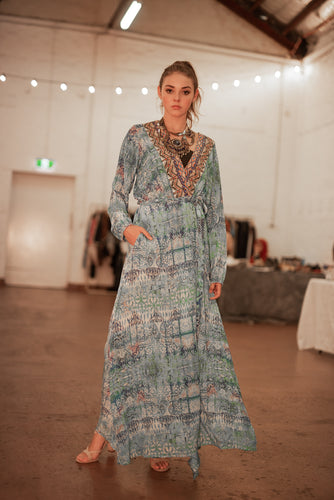 Blue Premium Silk dress/robe with long sleeves - handmade