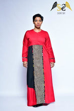 Load image into Gallery viewer, Bold Red Batik Maxi Dress